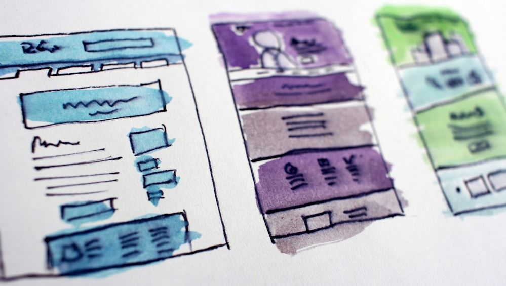 Iframes drawn on paper and painted with watercolors in blue, purple, and green