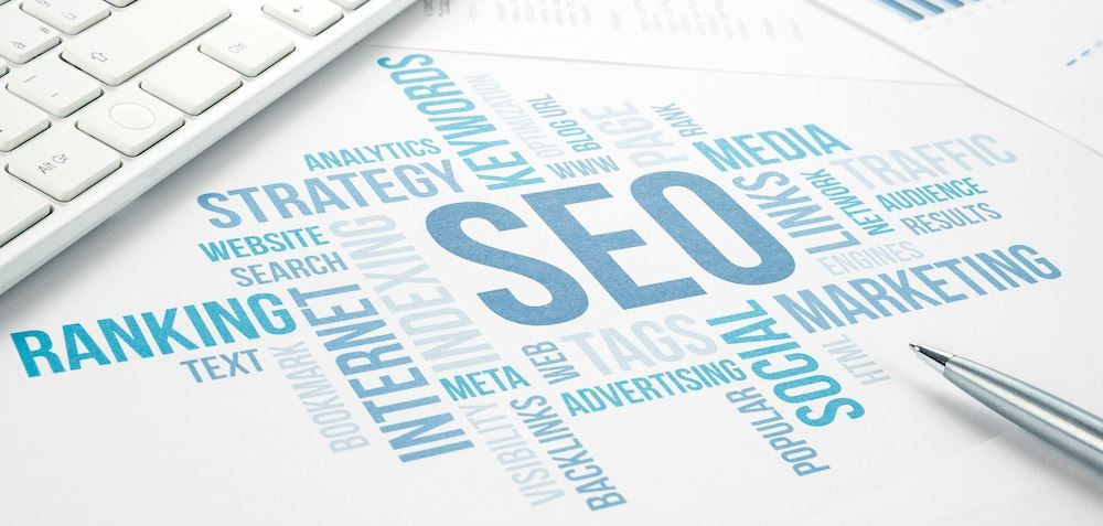 Word map with digital marketing words like SEO, strategy, internet, keywords, and more